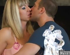 Nasty shemale Franchezka anal slammed by hard man meat