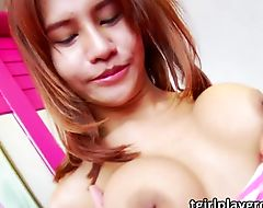 Teen ladyboy Mod loves teasing and masturbating her Asian prick