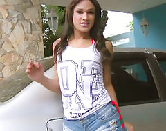 Teen ts Luana Vilhena anal rides a cock and receives a facial