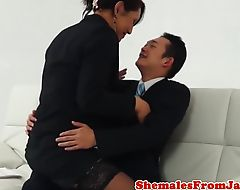 Classy newhalf cums while getting pounded
