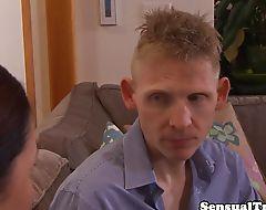 Stockinged tranny spitroasting in threesome