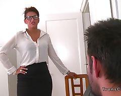 Guy bangs busty tranny maid at home