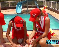 Tranny safeguards babes gangbang hetero at the pool with cool slide