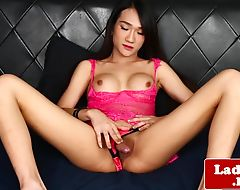 Glam ladyboy wanks off until a warm ending