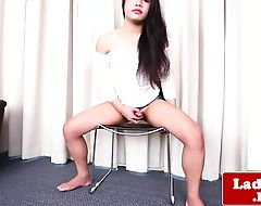 Smalltitted ladyboy beauty pulling cock solo