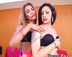 Slutty trannies Bella and Mariana Pink pleasure each other