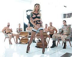 Big ass transgirl Aubrey Kate sucks and fucks six big cocks