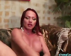 Long Cock Blowed by Big Tits Shemale