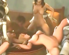 3D hentai shemales hard group gangbang