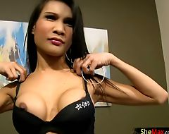 Long haired ladyboy strokes her shemeat and sucks in POV
