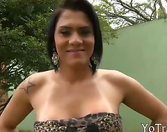Big titted shemale sucks off and anal banged outdoors
