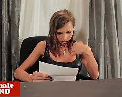 Busty trans babe wanking solo on office desk