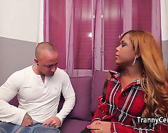 Sexy ebony tranny fucks big cock