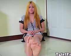 Foot fetish ladyboy wiggling her little toes