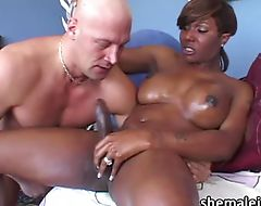 Ebony Tgirl Chasidy in hot blowjob date and cum feast with a hunk