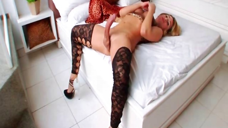 Sexy Tgirl plays with her big cock