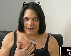 Curvy trap rides a dildo and masturbates