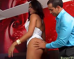 Busty latin shemale banged in her asshole on the bed