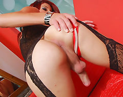 Tgirl in lingerie masturbates her hard cock on the bed