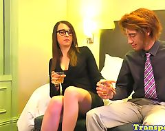 Spex tranny blown before getting assfucked