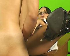Sexy shemale teacher doing naughty stuff