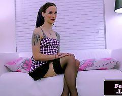Alt tattooed fembois solo wanking her meaty cock