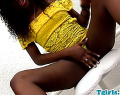 Nubian babe strokes her chocolate cock