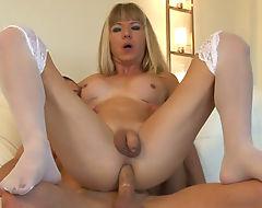 Busty blonde tgirl Franchezka analyzed in many positions