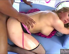Gorgeous shemale Hazel Tucker ass fucked with black boner