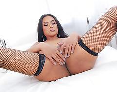 Big boobs shemale Ploy masturbates her cock to cum