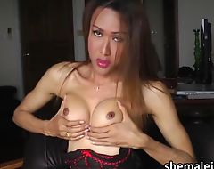 Lovely Asian Tgirl Apple solo masturbation and ass finger play