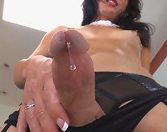 TS Gina Hart Fucks Herself With A Dildo