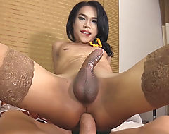 Kinky ladyboy offered her asshole for a fuck on the bed