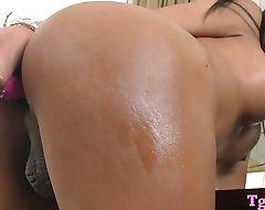 Busty asian tranny masturbates her asshole with a dildo