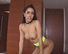 Busty ladyboy blowjobs and anal banged hard by big cock
