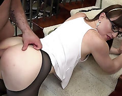 Slender shemale Natalie Mars in pantyhose ass pounded
