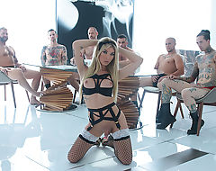 TS Aubrey in her first gangbang scene with her classmates