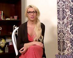Trans babe rides big dick
