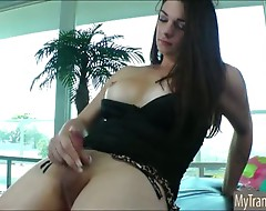 Busty TS Acadia Veneer ass fucked with massive sextoy