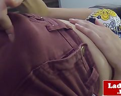 Amateur Thai transexual solo rubbing her cock