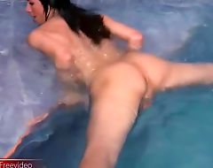 Big ass tranny plays with her massive penis in pool and cums