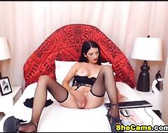 Cute Shemale Playing her Big Hard Cock
