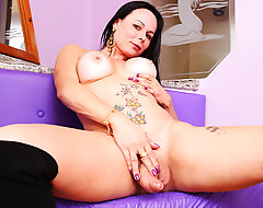 Paula D'Avila playing with her own shecock