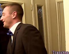 Trans hottie cums tugging
