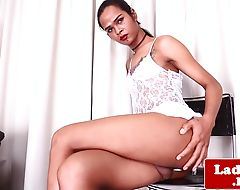 Solo ladyboy wanking off until a warm ending