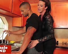Busty interracial tgirl cums while analfucked