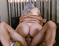 Busty shemale ass banged while jerking until she jizzes