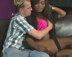 Black tranny slides her dick in guys rectum on the couch