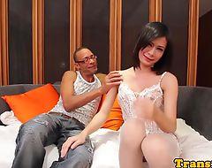 Amateur ladyboy in stockings bouncing on cock
