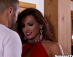 Glam latina tranny posing in front of mirror